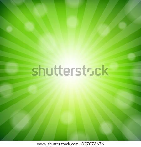Green Sunburst Poster With Gradient Mesh, Vector Illustration - stock vector