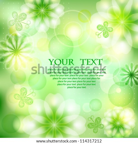 Green sunny background with flowers and butterflies, summer card - stock vector