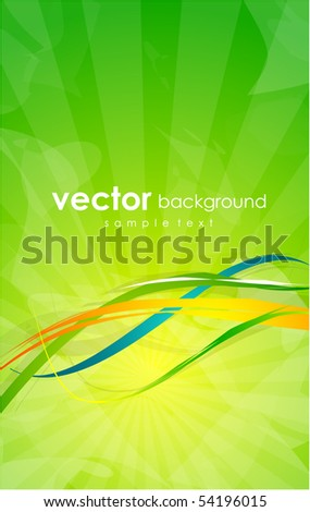 Green sunny design with abstract lines - stock vector