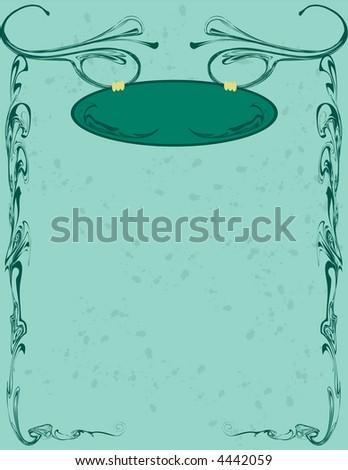 Green Swirly Banner - stock vector