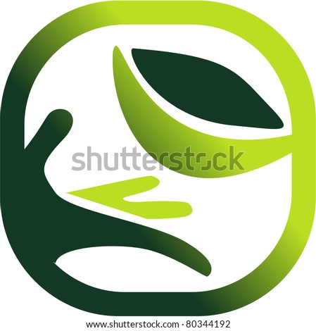 Green symbol of a nature's care. vector - stock vector