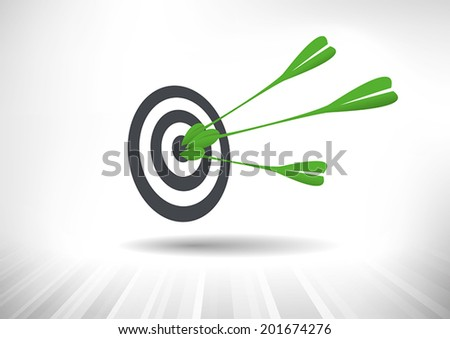 Green Target. Green leaf arrows hitting center of target. Vector illustration - stock vector