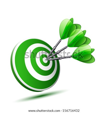 green target with three darts isolated - stock vector