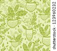 Green tea cups seamless pattern background - stock vector