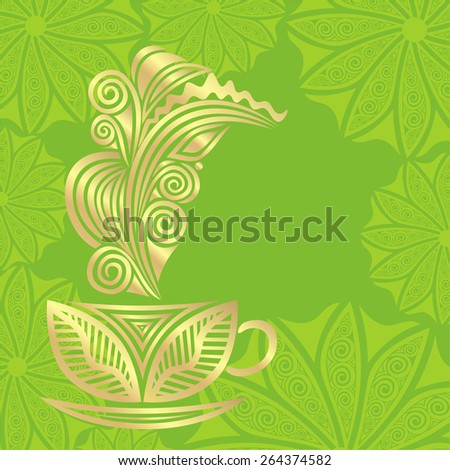 Green tea green and gold vector illustration - stock vector