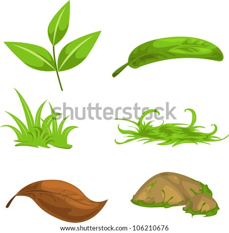 Green tea leaves and stone and grass isolated vector illustration - stock vector