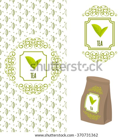 Green tea logo branding concept. Packaging ornate template for organic tea and green coffee. Eco paper bag with tea label and seamless leaf line pattern.. - stock vector