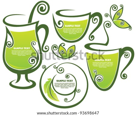green tea, vector collection of forms and frames