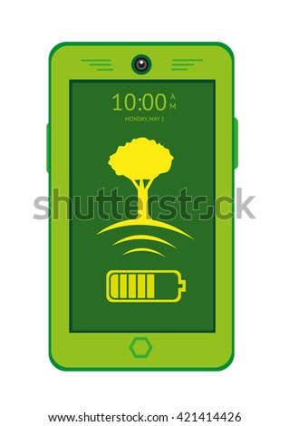 Green Tech concept. Green Mobile Touchscreen Phone with a Tree with Wifi Signal Icon and battery. Editable Clip Art. - stock vector