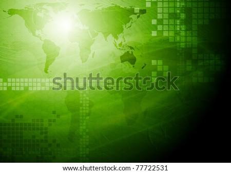 Green tech design with world map. Eps 10 vector - stock vector