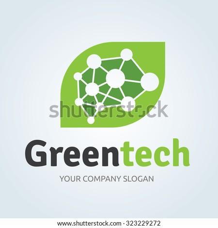 Green Tech,Eco logo,Brain logo,Idea logo,Creative logo,Vector Logo Template - stock vector