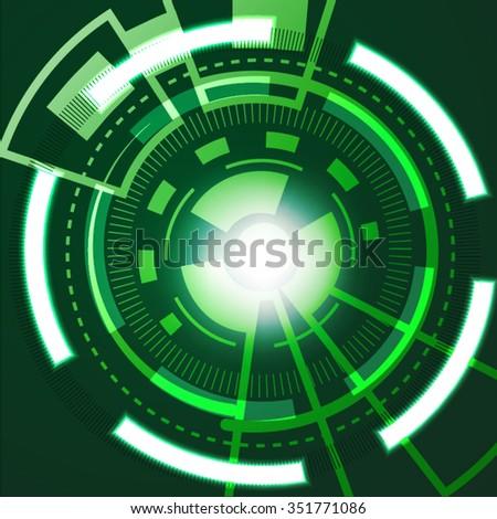 Green techno vector background. - stock vector