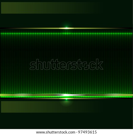 Green technology background with metallic banner. vector - stock vector