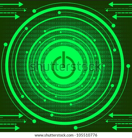 Green Technology With Power Button. Jpeg Version Also Available In Gallery. - stock vector