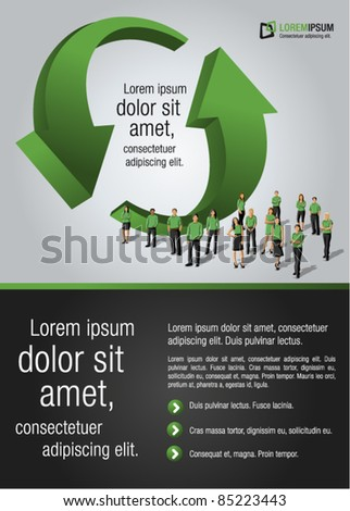 Green template for advertising brochure with business people - stock vector