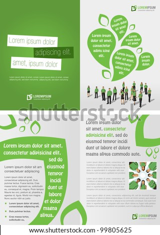 Green template for advertising brochure with business people