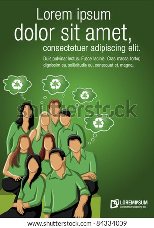 Green template for advertising brochure with people thinking about recycling - stock vector