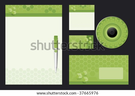 Green Template Vector Background  - blank, card, pen, cd, note-paper, envelope - stock vector
