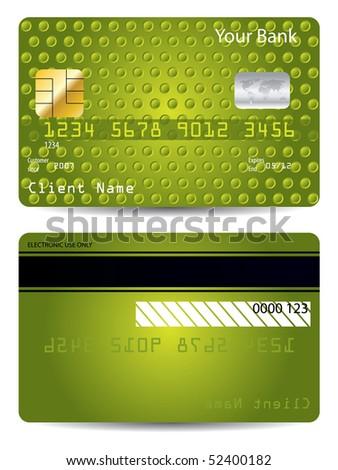 Green textured credit card - stock vector