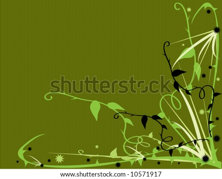 Green thorny vector floral - stock vector