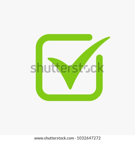Green Tick Check Mark Box Sign Stockvector 1032647272 Shutterstock
