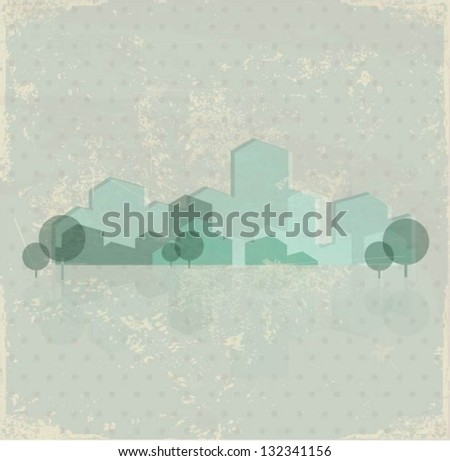Green town vector background - stock vector