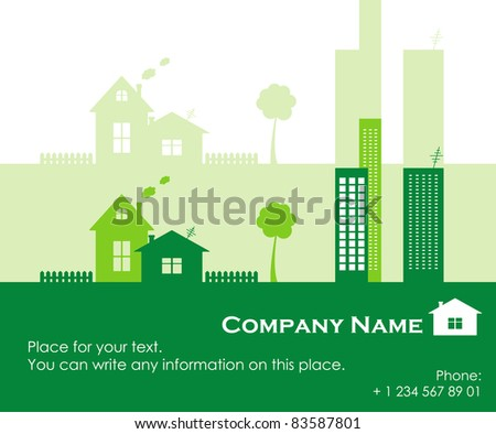 Green town, vector illustration - stock vector