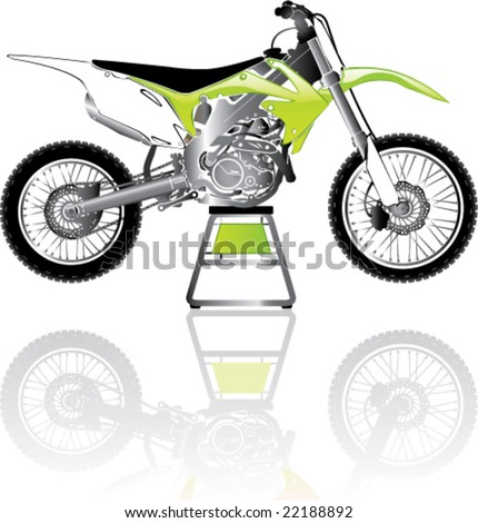 Green Toxic Motorcross cycle on the stand (repair) - stock vector
