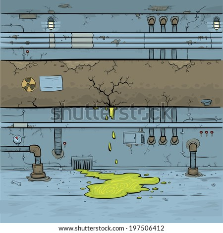 Green toxic waste leaks from a cartoon pipe in an industrial interior. - stock vector