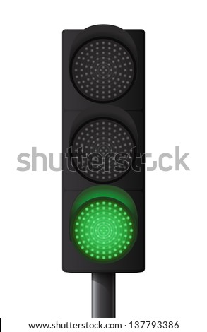 Green traffic light - stock vector
