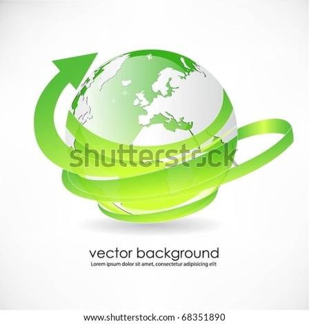 green translucent globe with arrow-vector - stock vector