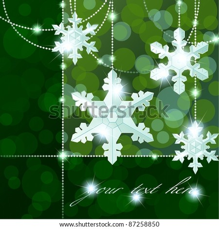 Green transparent banner with snowflake ornaments (eps10);  jpg version also available - stock vector