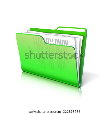 Green transparent folder with papers. Document icon. Vector illustration. - stock vector