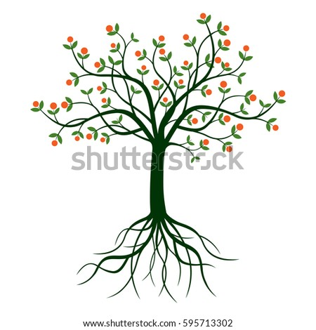 apple tree with roots clipart. green tree and roots. vector illustration. apple with roots clipart