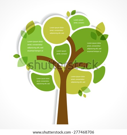Green tree - background and infographics with place for text - stock vector