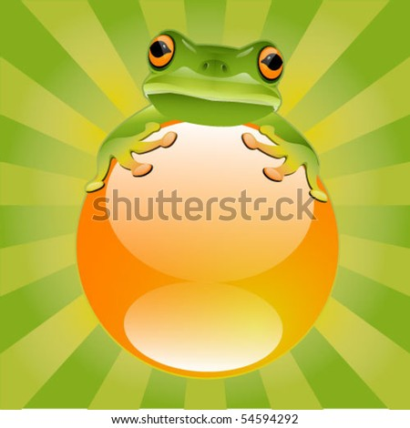 Green Tree Frog - stock vector