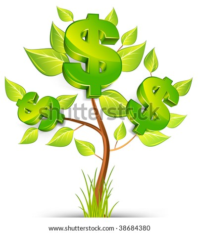 Green tree growing currency with dollar sign on white background, vector illustration - stock vector