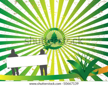 Green Tree Illustration with the people who hold the banner