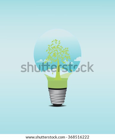 Green Tree in light Bulb, Eco Concept, Isolated On White Background, Vector Illustration