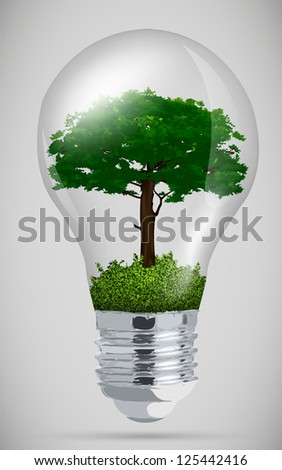 green tree in light bulb. the concept of clean energy - stock vector