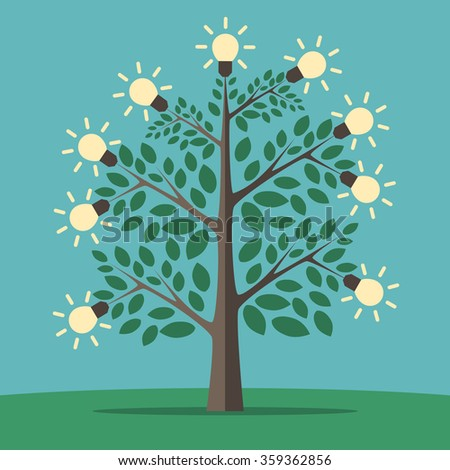 Green tree of creative ideas with glowing light yellow lightbulbs. Insight, inspiration, idea, invention and breakthrough concept. Flat style. EPS 8 vector illustration, no transparency - stock vector