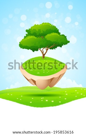 Green Tree on Flying Island in the Sky - stock vector