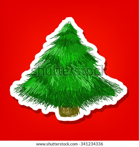 Green tree on red background - stock vector