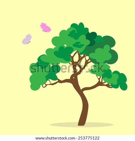 Green tree surrounded by butterflies. Vector illustration. - stock vector