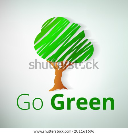 Green Tree Symbol. Fully scalable vector illustration. - stock vector