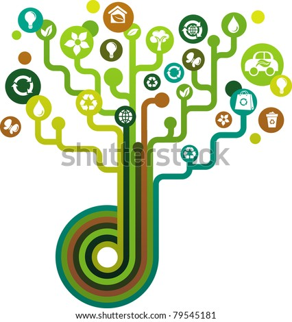 green tree with ecological icons - stock vector