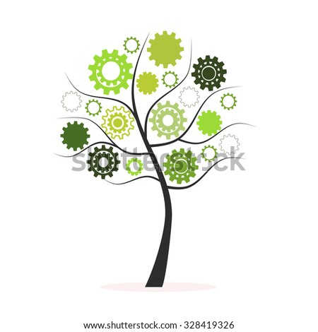 Green tree with hand prints vector background - stock vector
