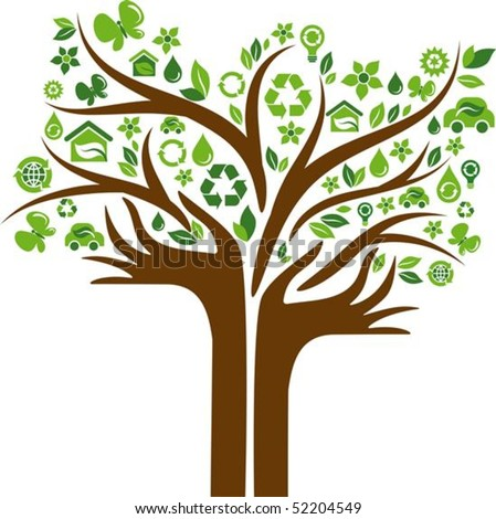 Green tree with hands-shaped trunk and many ecological icons and logos - stock vector
