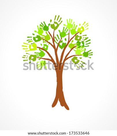 Green tree with leaves made of handprint. Eco concept for your design. - stock vector