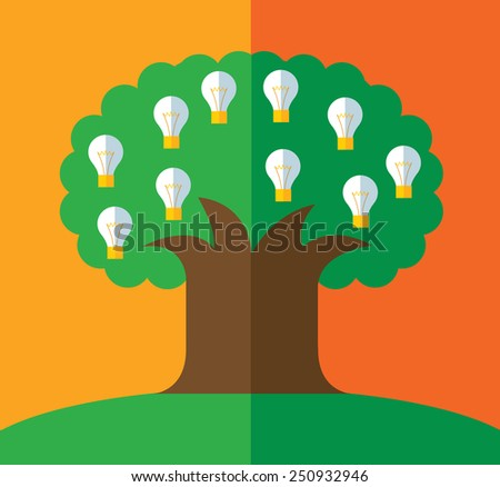 green tree with light bulbs on the branches. idea concept. Vector business concept in flat style. - stock vector